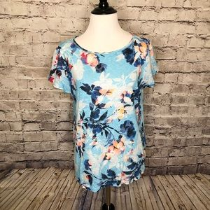 J Jill Love Linen Blue Floral Short Sleeve Top